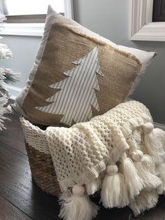 Bohemian Christmas, Handmade Christmas Tree, Handmade Christmas Decorations, Etsy Christmas, Fabric Christmas Trees, Burlap Christmas Tree, Diy Christmas Pillows, Decorated Christmas Trees, Christmas Pillow Covers