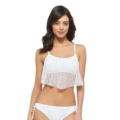 MB Crochet Flounce Bikini Top White