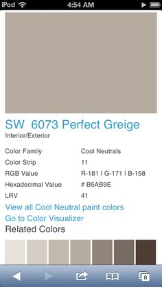Perfect Greige by Sherwin Williams  http://m.sherwin-williams.com/mt/www.sherwin-williams.com/homeowners/color/find-and-explore-colors/paint-colors-by-family/SW6073/