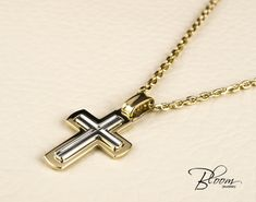 Mens Cross Necklace 14K White and Yellow Gold Chain Mens Gold Necklace Gold Cross Pendant with Chain for Men Mens Cross pendant with Chain by BloomDiamonds on Etsy