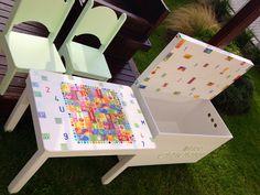 Didacticas y creativas- juego de mesita y sillitas - baul con rueditas 80  x 40