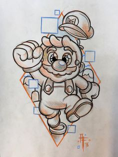 Pin by jordan garner on tattoos in 2019 tattoo drawings, dra Disney Drawings, Cartoon Drawings, Cartoon Art, Cool Drawings, Drawing Sketches, Pencil Drawings, Cartoons To Draw, Graffiti Art, Super Mario Art