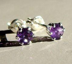 4mm Amethyst Post Earrings in Sterling Silver Stud Earrings Birthstone Studs