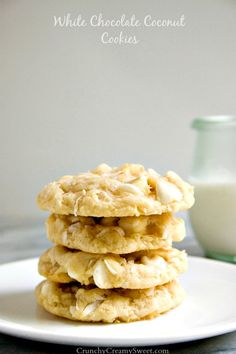 White Chocolate Coconut Cookies - soft sugar cookies packed with white chocolate and coconut.