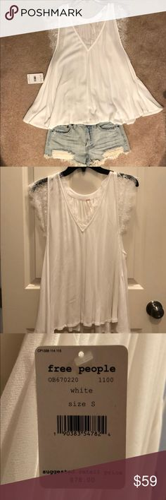 NWT Free People Top with Lace Detail Pretty white top that can be worn alone or layered. A great summer wardrobe addition! Free People Tops Blouses