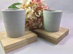 Deko-Objekte - Beton Becher mit Holz-Sockel für Stifte und so - ein Designerstück von Daseineunddasandere bei DaWanda