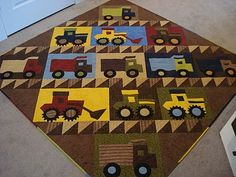 What little boy wouldn't love this? You could twist it up a bit and use our train or car set! There are many ways to customize them to your preference! http://www.accuquilt.com/shop/go-half-square-triangle-1-1-2-finished-square.html http://www.accuquilt.com/shop/go-train.html Original post: http://quiltstory.blogspot.com/2011/04/fab-boy-quilt-from-in-my-sewing-room.html Fab Boys, Sewing Rooms, My Sewing Room, Baby Sewing, Barn Quilts, Square Quilt, Quilt Making, Quilting Tips, Quilting Projects