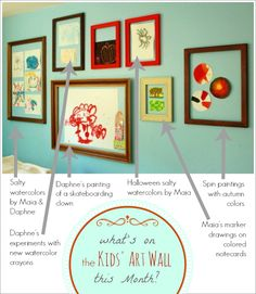 Whats on the Kids Art Wall this Month -- a mix of favorite techniques (salty watercolors, spin art) with seasonal colors and themes.