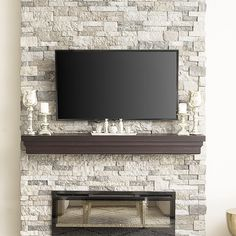 Stone fireplace - electric fireplace - faux stone - mantle decor - stone veneer - faux mantle