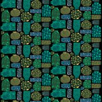 Pieni Purnukka fabric - black-green-purple - Marimekko