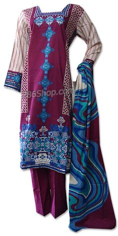 Magenta Cotton Lawn Suit  | Buy Pakistani Indian Casual Dresses and Clothing
