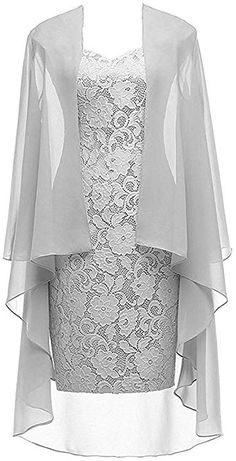 Column 3/4 Sleeves Lace Chiffon Short Wedding Mother Evening Dresses Formal Silver Size 2 at Amazon Women's Clothing store: