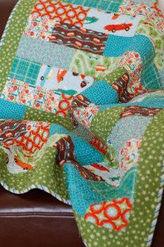 Strip quilt.. but different patterns in each strip