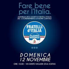 Domani mattina tutti a Ostia #farebene per l'Italia. Non mancare per eleggere i nostri delegati al congresso nazionale di Trieste e poi per  #piccapresidente il 19 novembre Tutti al voto per vincere ancora