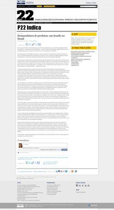 Título: Remanufatura de produtos: um desafio no Brasil. Veículo: Página 22. Data: 10/11/2014. Cliente: JR Diesel.