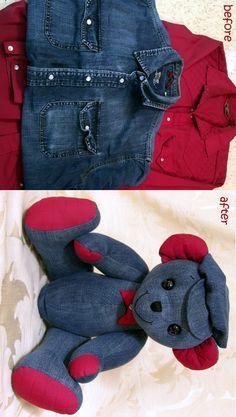 crochet teddy bears Handmade memory teddy bear from a loved one's western shirts. by TammyBears Teddy Bear Crafts, Diy Teddy Bear, Teddy Bears, Teddy Bear Sewing Pattern, Memory Crafts, Sewing Stuffed Animals, Sewing Toys, Sewing Crafts, Crochet Teddy