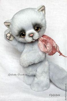Купить Пуффик - голубой, коллекционные игрушки, друзья мишек тедди, кот, котик, коты, котенок