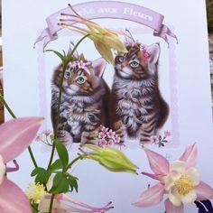 Sweet kittens illustration print - by Fiammetta Dogi - pink and romantic print - Marché au Fleurs - Romantic print for girls