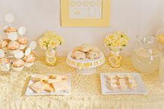 Pretty yellow sweet table.