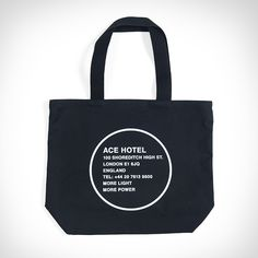 ACE HOTEL LONDON SHOREDITCH TOTE BAG // Find your way back home with the Ace Hotel London Shoreditch tote bag -- available in natural canvas with black screenprint, or black canvas with white screenprint.