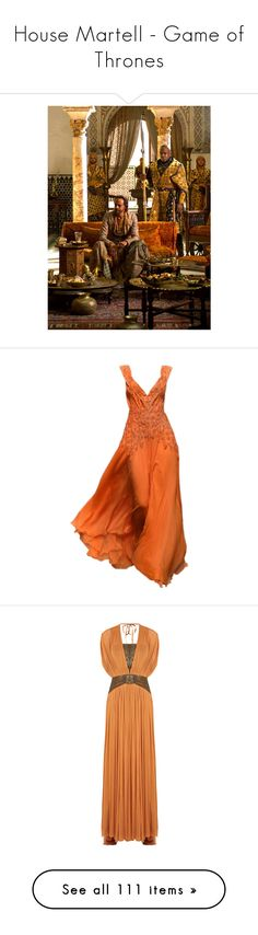 """""""House Martell - Game of Thrones"""" by greerflower ❤ liked on Polyvore featuring gowns, dresses, catherine deane, medieval, orange, silk dress, red dress, red silk gown, silk gown and orange evening dresses"""