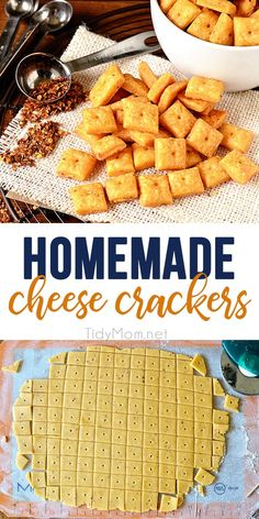 Homemade Cheese Crackers is part of Cheese crackers With only 6 easy ingredients you can have flaky delicious homemade cheese crackers in under an hour You& fall deeply in love with the flavor, s - Homemade Crackers, Homemade Cheese, Homemade Cheez Its, Healthy Crackers, Homemade Candies, Baby Food Recipes, Snack Recipes, Cooking Recipes, Family Recipes