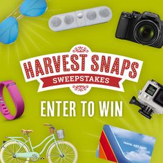A new look calls for a BIG giveaway! I just entered the Harvest Snaps Sweepstakes for a chance to win prizes from Ray Ban, Fit Bit, and Go-Pro. Plus, FREE Snaps, and you can too! http://bit.ly/1KY62FF