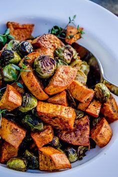 ROASTED SWEET POTATOES & BRUSSELS SPROUTS || garlic, olive oil, cumin, garlic salt, salt/pepper, red wine vinegar, fresh thyme