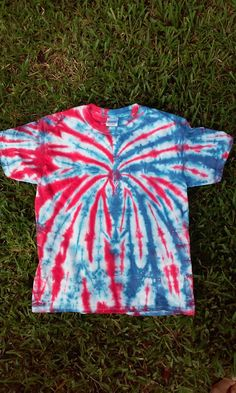 6673494c Youth Medium Red White Blue Tie Dye shirt, patriotic tie dye, 4th of july  shirt, fireworks shirt, spider tie dye, spiderman tie dye, tie dye