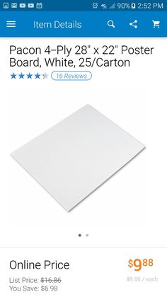 """Pacon 4-Ply 28"""" x 22"""" Poster Board, White, 25/Carton $9.88 ... ... ...  Use to cover windows at work! (Maybe Spray Paint the chrome to deflect the sun) ... ... ...   http://www.walmart.com/ip/Pacon-4-Ply-28-x-22-Poster-Board-White-25-Carton/15052201"""