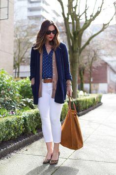 White denim + layers #winterstyle