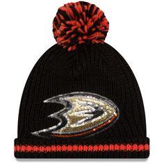 Anaheim Ducks New Era Women's Sequin Frost Cuffed Knit Hat with Pom - Black