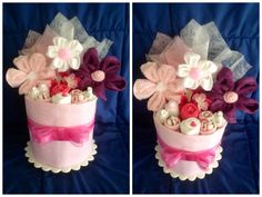 Pink with small White Dots Nappy Cake. by HelloDuckyA1 on Etsy, $90.00