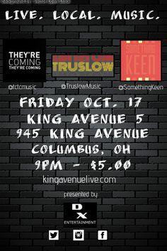 @TCTCmusic headlining at King Ave. 5 on Fri. 10/17 w/ @TruslowMusic & @SomethingKeen. It's gonna be epic.