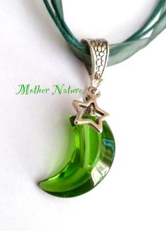 Potion/essential oil/perfume, glass moon Vial, Mother Nature, tibetan silver star, Organza ribbon cord necklace