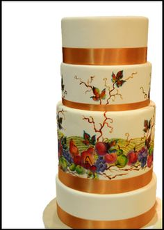 """""""Okanagan Inspired Hand Painted Cake"""" - Hand painted by world renowned artist Neadeen Masters, inspired by local vineyards and fruit trees."""