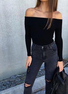 thechic-fashionista: Black T-Shirt» Black denim pant»