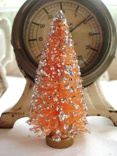 An orange bottle brush Christmas tree! Miniature Christmas, Christmas Love, Christmas Colors, Christmas Themes, Vintage Christmas, Christmas Holidays, Christmas Crafts, Christmas Ornaments, Orange Ornaments