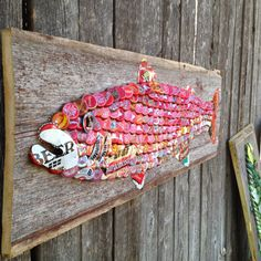 SOLD ART | The Moore Family Folk Art vintage soda can and modern and vintage bottle cap trout on 90 year old barn wood from Iowa by Folk Artist Alan Moore SOLD