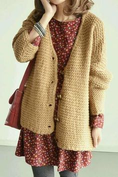 red pattern dress chunky knit cardigan cosy winter autumn fashion style Source by curatedcassi Fashion Ideas Hot Outfits, Pretty Outfits, Dress Outfits, Look Fashion, Winter Fashion, Fashion Clothes, Autumn Fashion Hipster, Hipster Fall Outfits, Trendy Fashion
