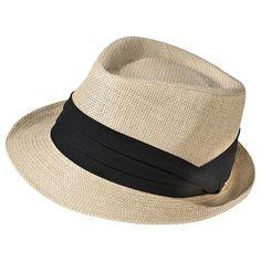 Women's Straw Fedora Hat with Black Sash - Natural - Merona™ : Target