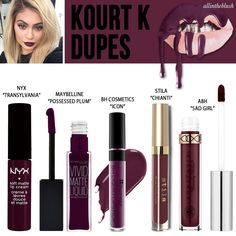 Kylie Jenner Cosmetics Lipkit ~ Kourt K Dupes ~ NYX Transylvania ~ Maybelline Possessed Plum ~ BH Cosmetics Icon ~ Stila Chianti ~ ABH Sad Girl Drugstore Makeup Dupes, Beauty Dupes, Beauty Makeup, Nyx Dupes, Beauty Products, Makeup Brands, Fall Lipstick Drugstore, Makeup Products, Eyeshadow Dupes