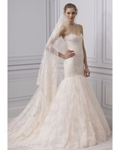 Gorgeous Monique Lhuillier trumpet wedding dress from Spring 2013