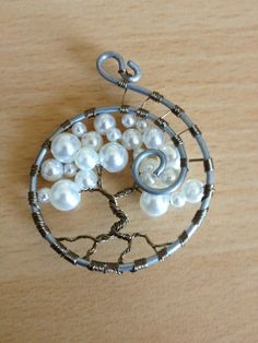 Tree of Life Pendant Pearl Tree by TwistedWiresTorquay on Etsy