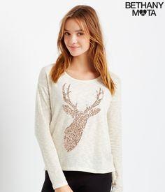 Long Sleeve Sequin Reindeer Top - Aeropostale