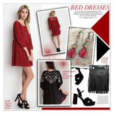 """""""Hot Red Dress"""" by knittedbelleboutique ❤ liked on Polyvore featuring Umgee, Miu Miu, Anja, women's clothing, women, female, woman, misses, juniors and reddress"""