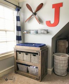 I wanted something that A) didn't look like a changing table, and B) could double as something different down the road. So check out my DIY Changing Table! Changing Table Topper, Baby Changing Station, Baby Changing Tables, Baby Crib Diy, Baby Nursery Diy, Baby Cribs, Nursery Ideas, Project Nursery, Room Ideas