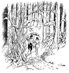 Lucy and Mr. Tumnus. Probably my favorite illustration. :)