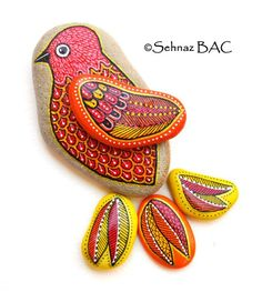 Hand Painted Stone Bird: