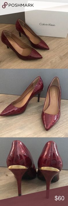 "d1ac13a6b06f Calvin Klein Heels Calvin Klein ""Gayle"" Croco Patent Heels In color Garnet.  Beautiful classic pump with gold metal detailing at heel."